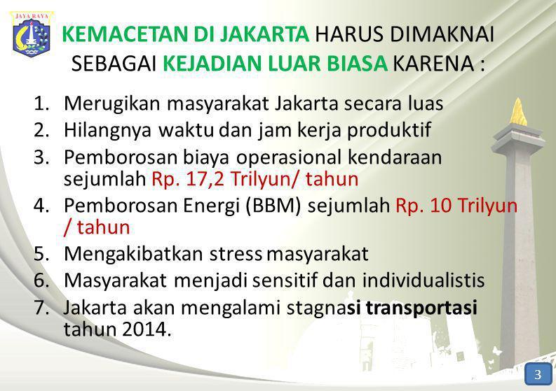 KEMACETAN DI JAKARTA HARUS DIMAKNAI SEBAGAI KEJADIAN LUAR BIASA KARENA : 1.Merugikan masyarakat Jakarta secara luas 2.Hilangnya waktu dan jam kerja pr