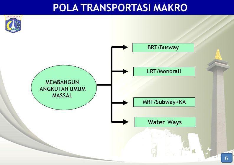 MEMBANGUN ANGKUTAN UMUM MASSAL MRT/Subway+KA LRT/Monorail BRT/Busway Water Ways 6