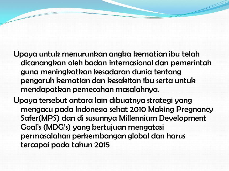 Pada akhir tahun 1990-an secara konseptual telah diperkenalkan upaya untuk menajamkan strategi dan intervensi dalam menurunkan AKI yaitu making pregnancy safer(MPS) yang dicanangkan oleh pemerintah pada tahun 2000.