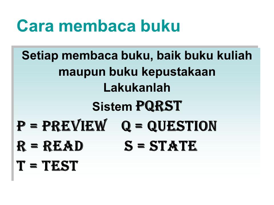 Cara membaca buku Setiap membaca buku, baik buku kuliah maupun buku kepustakaan Lakukanlah Sistem PQRST P = preview q = question r = read s = state t = test Setiap membaca buku, baik buku kuliah maupun buku kepustakaan Lakukanlah Sistem PQRST P = preview q = question r = read s = state t = test