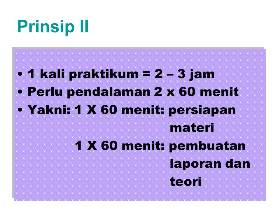 Prinsip II •1 kali praktikum = 2 – 3 jam •Perlu pendalaman 2 x 60 menit •Yakni: 1 X 60 menit: persiapan materi 1 X 60 menit: pembuatan laporan dan teori •1 kali praktikum = 2 – 3 jam •Perlu pendalaman 2 x 60 menit •Yakni: 1 X 60 menit: persiapan materi 1 X 60 menit: pembuatan laporan dan teori