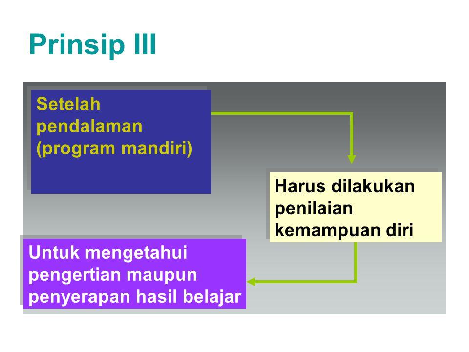 Prinsip III Setelah pendalaman (program mandiri) Harus dilakukan penilaian kemampuan diri Untuk mengetahui pengertian maupun penyerapan hasil belajar