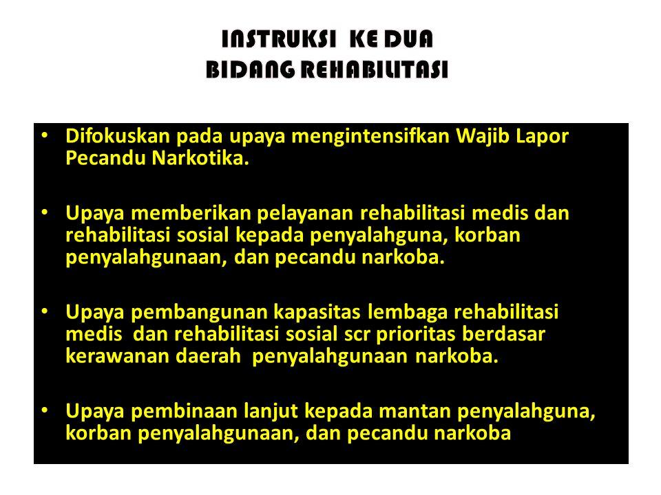 • Difokuskan pada upaya mengintensifkan Wajib Lapor Pecandu Narkotika. • Upaya memberikan pelayanan rehabilitasi medis dan rehabilitasi sosial kepada