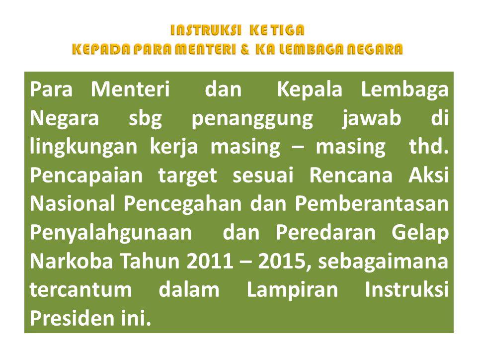 Para Menteri dan Kepala Lembaga Negara sbg penanggung jawab di lingkungan kerja masing – masing thd. Pencapaian target sesuai Rencana Aksi Nasional Pe