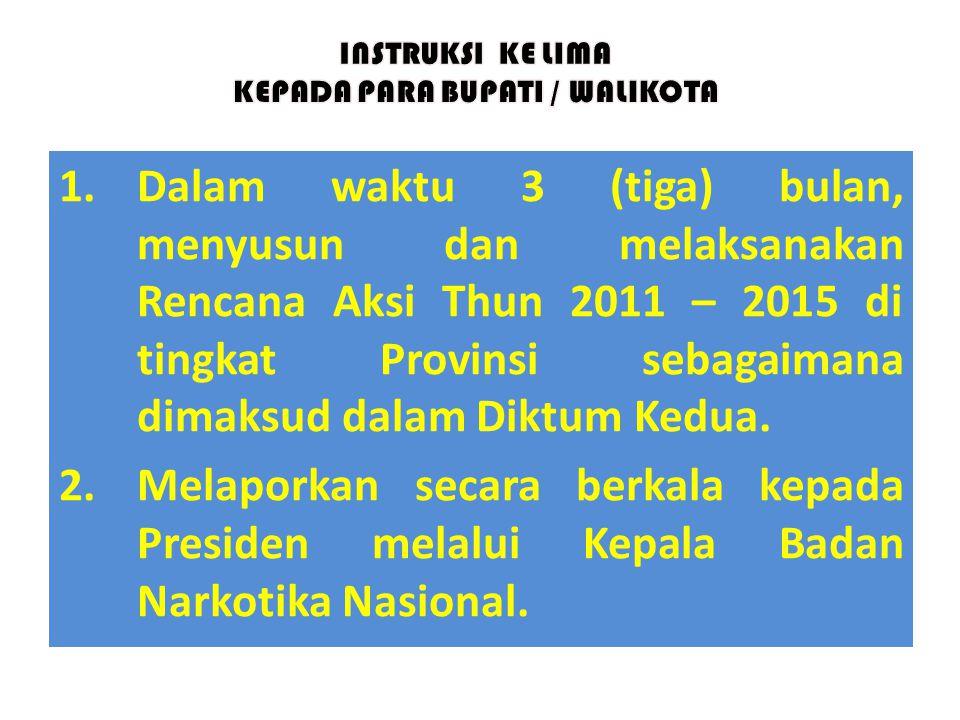 1.Dalam waktu 3 (tiga) bulan, menyusun dan melaksanakan Rencana Aksi Thun 2011 – 2015 di tingkat Provinsi sebagaimana dimaksud dalam Diktum Kedua. 2.M