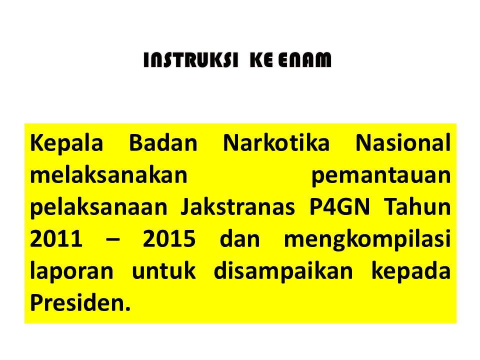 Kepala Badan Narkotika Nasional melaksanakan pemantauan pelaksanaan Jakstranas P4GN Tahun 2011 – 2015 dan mengkompilasi laporan untuk disampaikan kepa