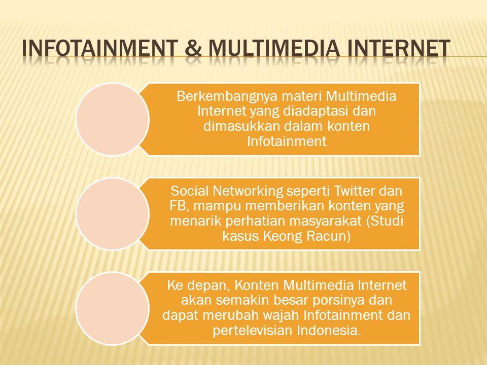 Berkembangnya materi Multimedia Internet yang diadaptasi dan dimasukkan dalam konten Infotainment Social Networking seperti Twitter dan FB, mampu memberikan konten yang menarik perhatian masyarakat (Studi kasus Keong Racun) Ke depan, Konten Multimedia Internet akan semakin besar porsinya dan dapat merubah wajah Infotainment dan pertelevisian Indonesia.