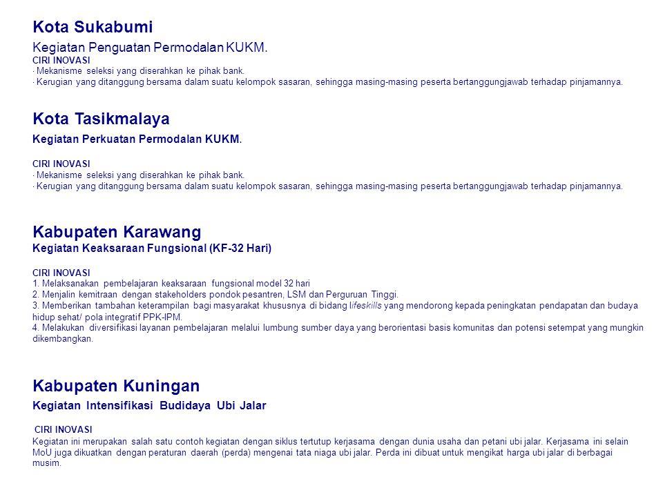 Kota Sukabumi Kegiatan Penguatan Permodalan KUKM. CIRI INOVASI · Mekanisme seleksi yang diserahkan ke pihak bank. · Kerugian yang ditanggung bersama d