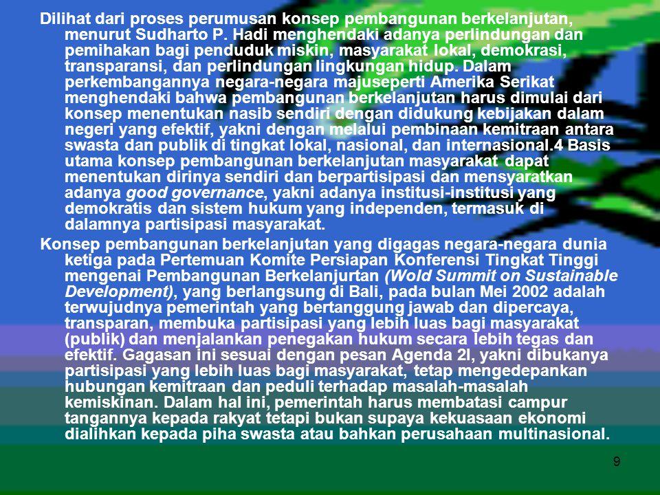 9 Dilihat dari proses perumusan konsep pembangunan berkelanjutan, menurut Sudharto P. Hadi menghendaki adanya perlindungan dan pemihakan bagi penduduk