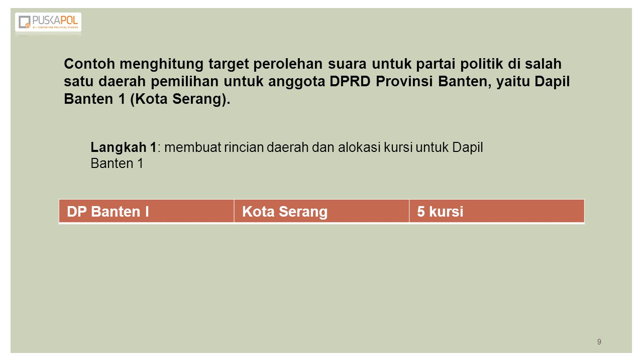 Contoh menghitung target perolehan suara untuk partai politik di salah satu daerah pemilihan untuk anggota DPRD Provinsi Banten, yaitu Dapil Banten 1