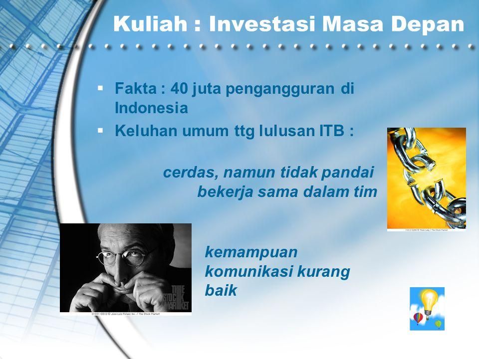Kuliah : Investasi Masa Depan  Fakta : 40 juta pengangguran di Indonesia  Keluhan umum ttg lulusan ITB : cerdas, namun tidak pandai bekerja sama dalam tim kemampuan komunikasi kurang baik