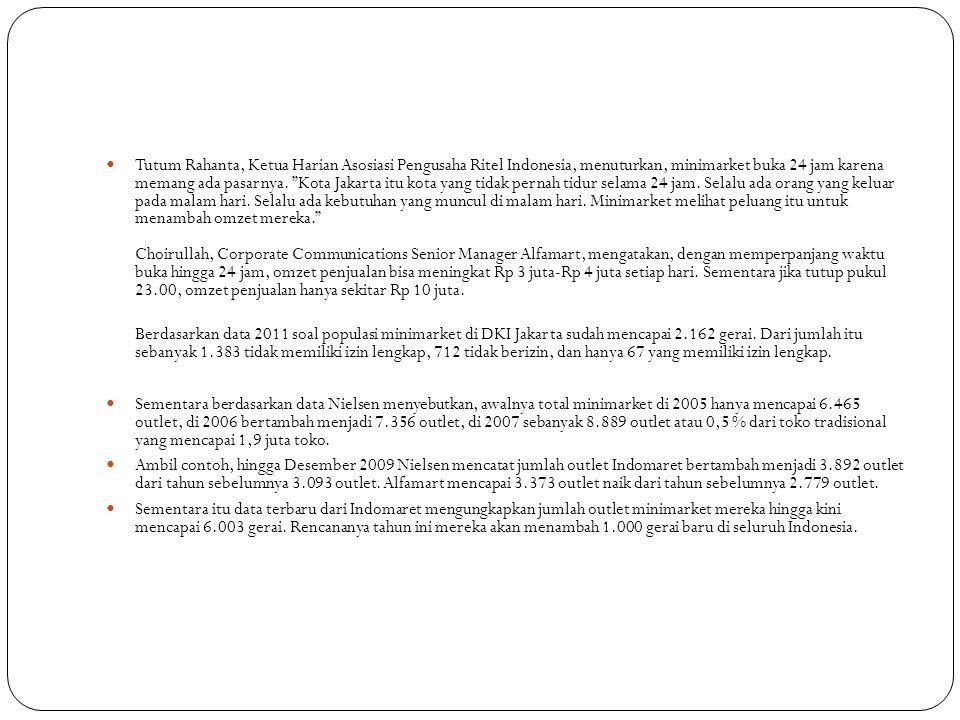 """ Tutum Rahanta, Ketua Harian Asosiasi Pengusaha Ritel Indonesia, menuturkan, minimarket buka 24 jam karena memang ada pasarnya. """"Kota Jakarta itu kot"""