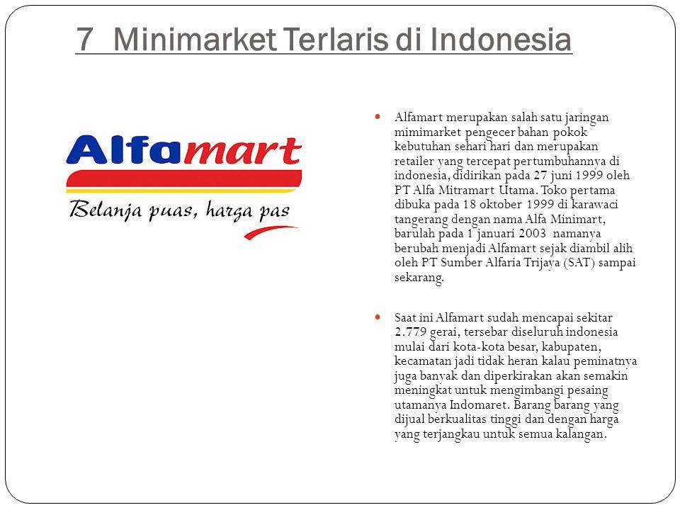 7 Minimarket Terlaris di Indonesia  Alfamart merupakan salah satu jaringan mimimarket pengecer bahan pokok kebutuhan sehari hari dan merupakan retail