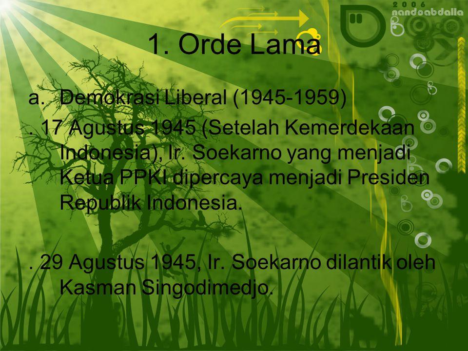 1.Orde Lama a.Demokrasi Liberal (1945-1959). 17 Agustus 1945 (Setelah Kemerdekaan Indonesia), Ir.