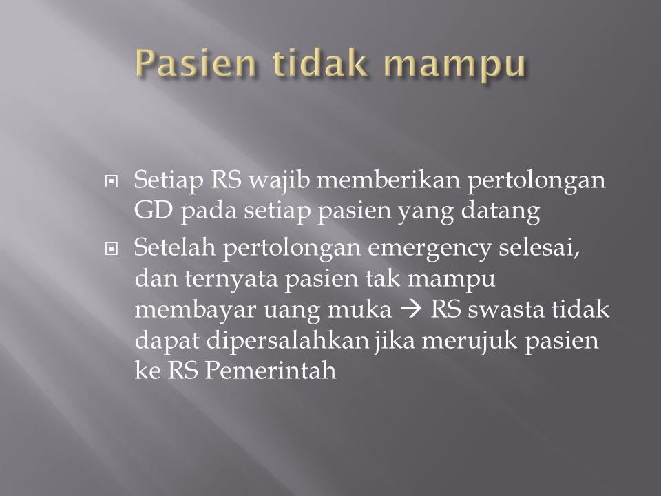  Setiap RS wajib memberikan pertolongan GD pada setiap pasien yang datang  Setelah pertolongan emergency selesai, dan ternyata pasien tak mampu memb