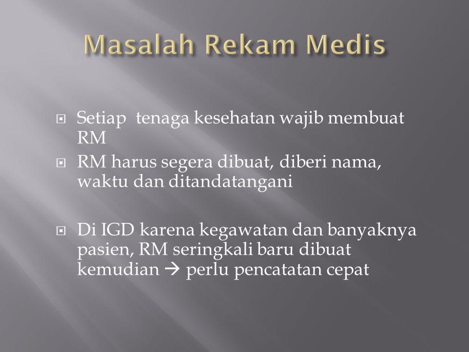  Setiap tenaga kesehatan wajib membuat RM  RM harus segera dibuat, diberi nama, waktu dan ditandatangani  Di IGD karena kegawatan dan banyaknya pas