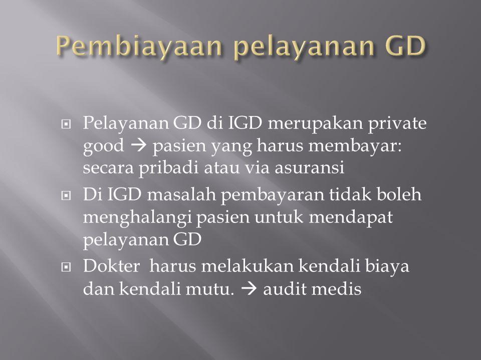  Pelayanan GD di IGD merupakan private good  pasien yang harus membayar: secara pribadi atau via asuransi  Di IGD masalah pembayaran tidak boleh me