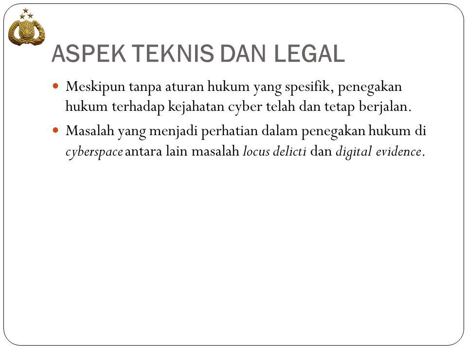 ASPEK TEKNIS DAN LEGAL  Meskipun tanpa aturan hukum yang spesifik, penegakan hukum terhadap kejahatan cyber telah dan tetap berjalan.  Masalah yang
