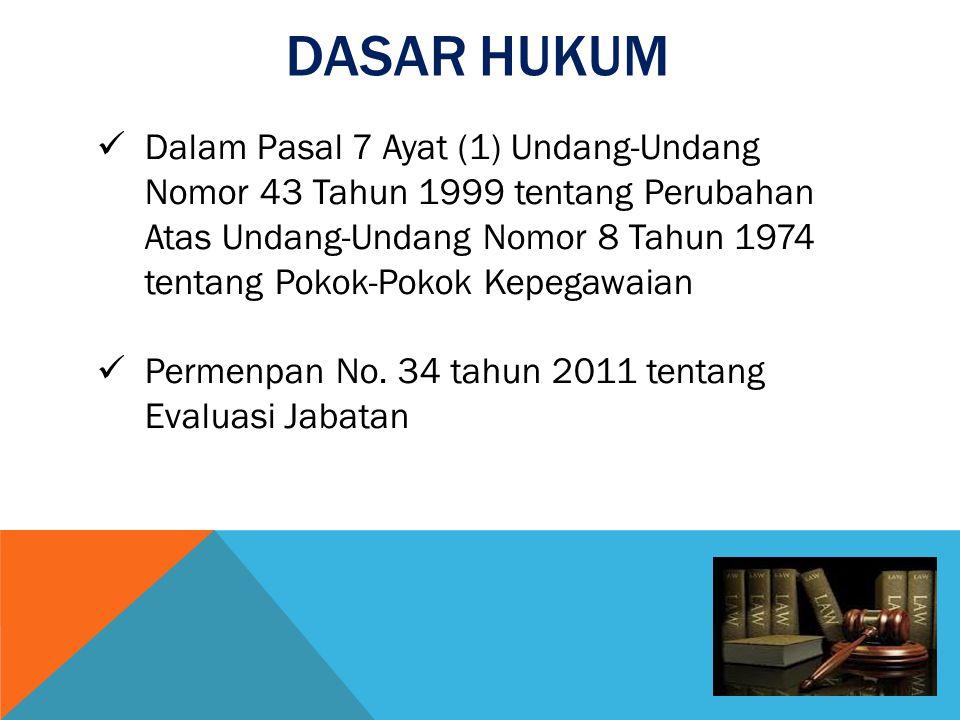 DASAR HUKUM  Dalam Pasal 7 Ayat (1) Undang-Undang Nomor 43 Tahun 1999 tentang Perubahan Atas Undang-Undang Nomor 8 Tahun 1974 tentang Pokok-Pokok Kep
