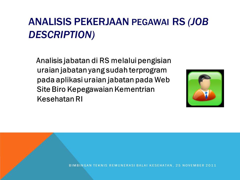 ANALISIS PEKERJAAN PEGAWAI RS (JOB DESCRIPTION) Analisis jabatan di RS melalui pengisian uraian jabatan yang sudah terprogram pada aplikasi uraian jab