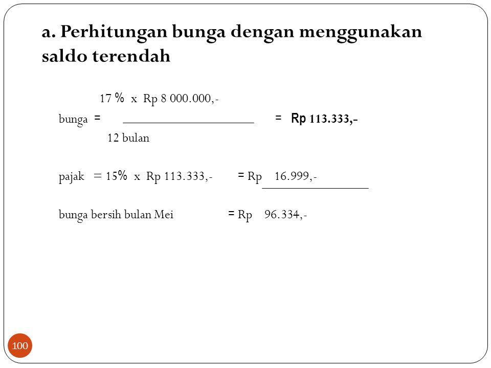 a. Perhitungan bunga dengan menggunakan saldo terendah 17 % x Rp 8 000.000,- bunga = = Rp 113.333,- 12 bulan pajak = 15 % x Rp 113.333,- = Rp 16.999,-