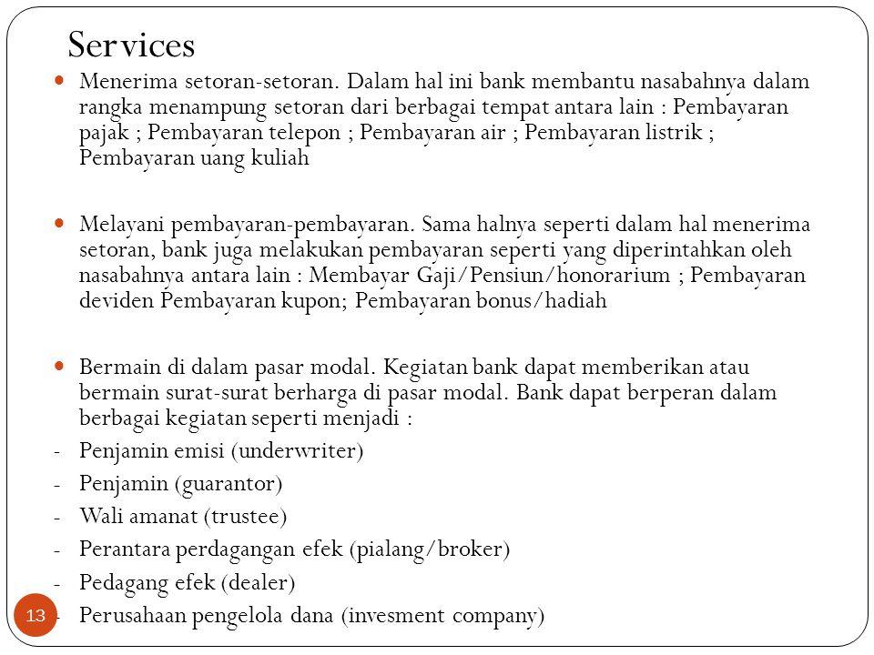Services  Menerima setoran-setoran.