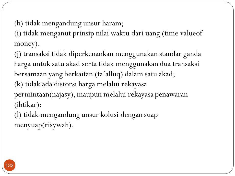(h) tidak mengandung unsur haram; (i) tidak menganut prinsip nilai waktu dari uang (time valueof money).