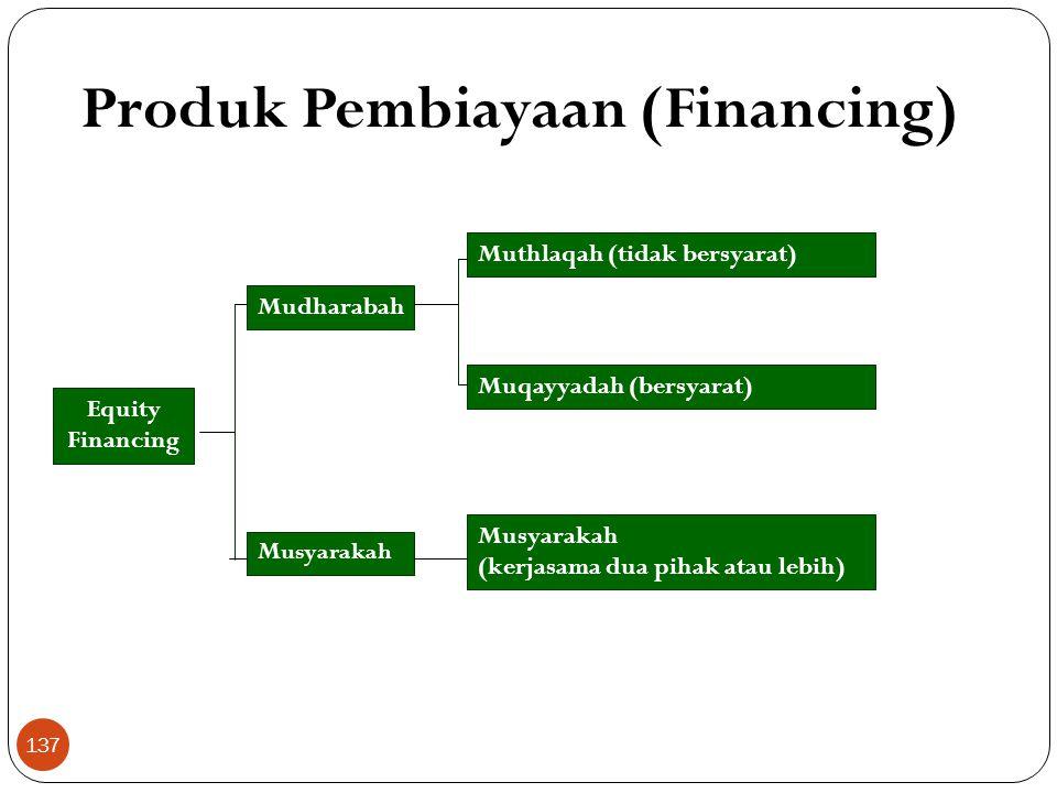 Produk Pembiayaan (Financing) Equity Financing Mudharabah Musyarakah Muthlaqah (tidak bersyarat) Muqayyadah (bersyarat) Musyarakah (kerjasama dua pihak atau lebih) 137