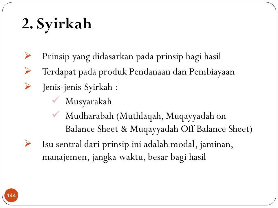 2. Syirkah  Prinsip yang didasarkan pada prinsip bagi hasil  Terdapat pada produk Pendanaan dan Pembiayaan  Jenis-jenis Syirkah :  Musyarakah  Mu