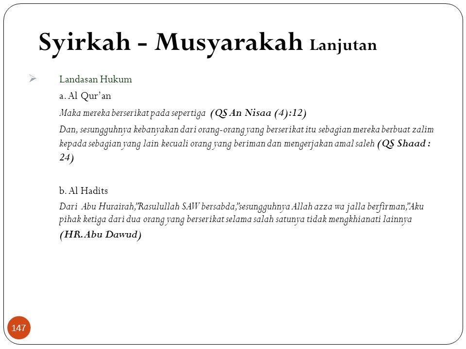 Syirkah - Musyarakah Lanjutan  Landasan Hukum a.