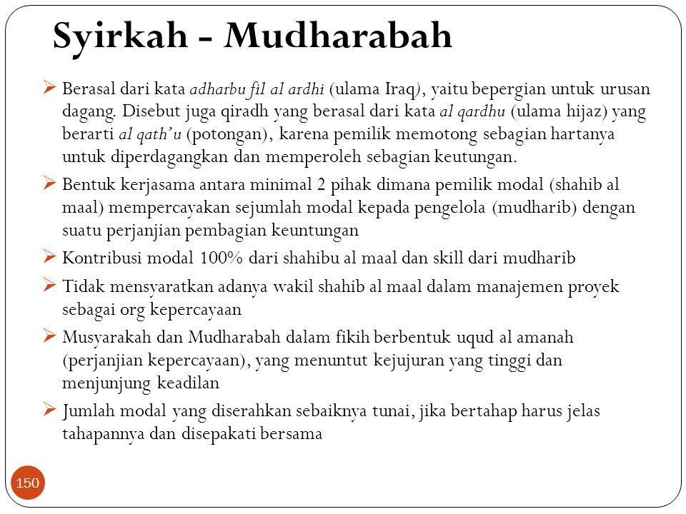 Syirkah - Mudharabah  Berasal dari kata adharbu fil al ardhi (ulama Iraq), yaitu bepergian untuk urusan dagang.