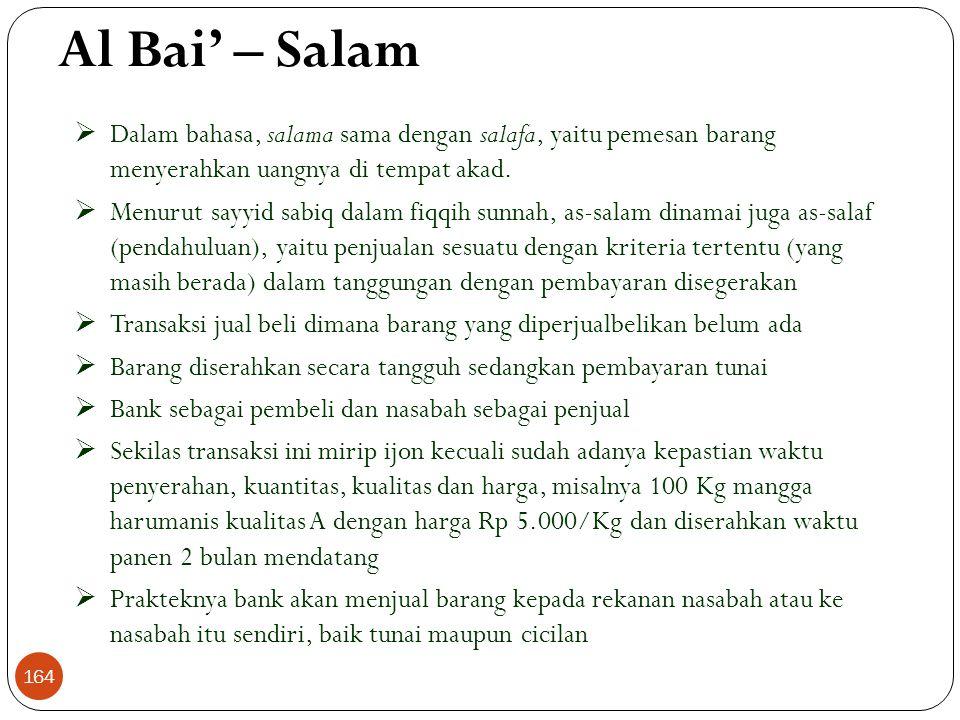 Al Bai' – Salam  Dalam bahasa, salama sama dengan salafa, yaitu pemesan barang menyerahkan uangnya di tempat akad.
