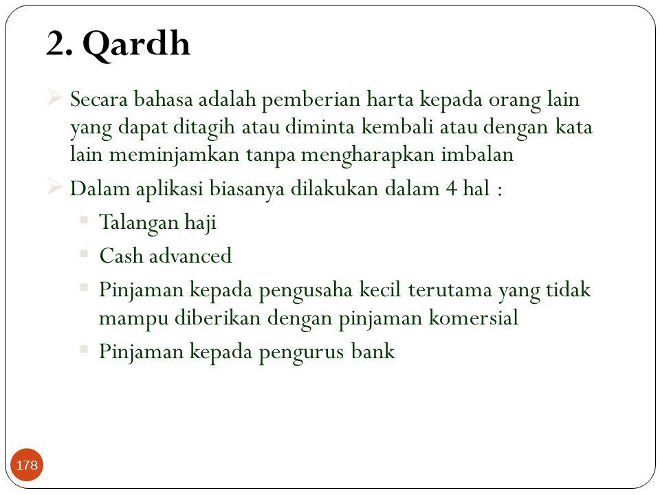2. Qardh  Secara bahasa adalah pemberian harta kepada orang lain yang dapat ditagih atau diminta kembali atau dengan kata lain meminjamkan tanpa meng