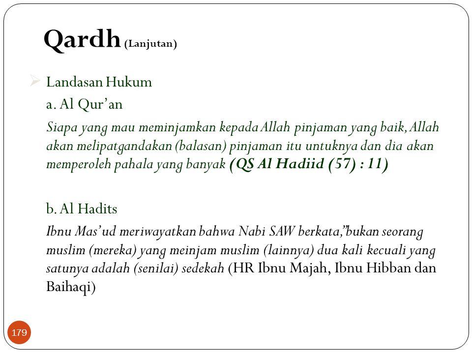 Qardh (Lanjutan)  Landasan Hukum a.