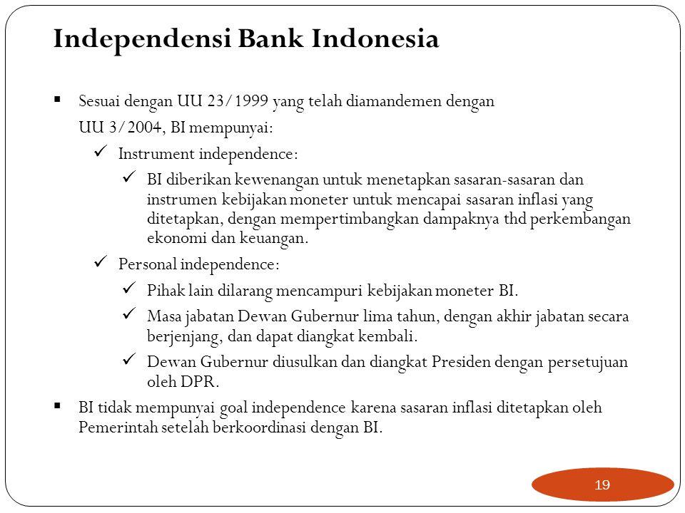  Sesuai dengan UU 23/1999 yang telah diamandemen dengan UU 3/2004, BI mempunyai:  Instrument independence:  BI diberikan kewenangan untuk menetapkan sasaran-sasaran dan instrumen kebijakan moneter untuk mencapai sasaran inflasi yang ditetapkan, dengan mempertimbangkan dampaknya thd perkembangan ekonomi dan keuangan.