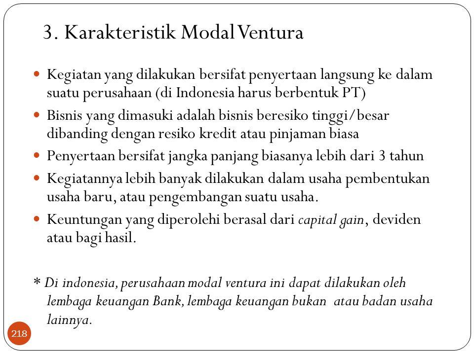 3. Karakteristik Modal Ventura  Kegiatan yang dilakukan bersifat penyertaan langsung ke dalam suatu perusahaan (di Indonesia harus berbentuk PT)  Bi