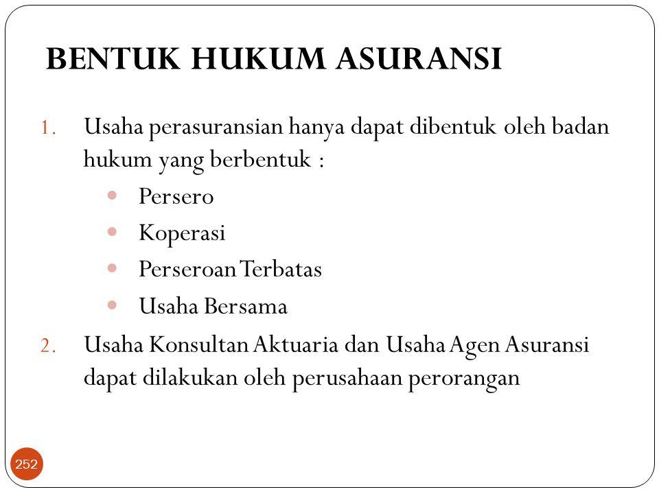 BENTUK HUKUM ASURANSI 1.