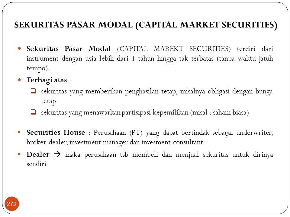 SEKURITAS PASAR MODAL (CAPITAL MARKET SECURITIES)  Sekuritas Pasar Modal (CAPITAL MAREKT SECURITIES) terdiri dari instrument dengan usia lebih dari 1 tahun hingga tak terbatas (tanpa waktu jatuh tempo).