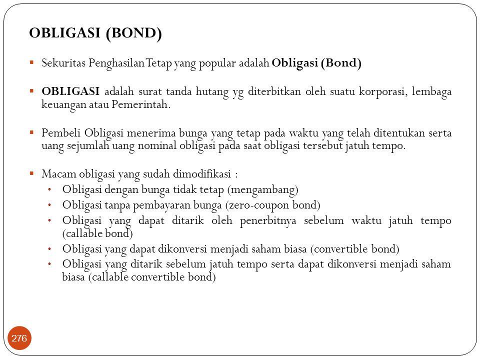 OBLIGASI (BOND)  Sekuritas Penghasilan Tetap yang popular adalah Obligasi (Bond)  OBLIGASI adalah surat tanda hutang yg diterbitkan oleh suatu korporasi, lembaga keuangan atau Pemerintah.