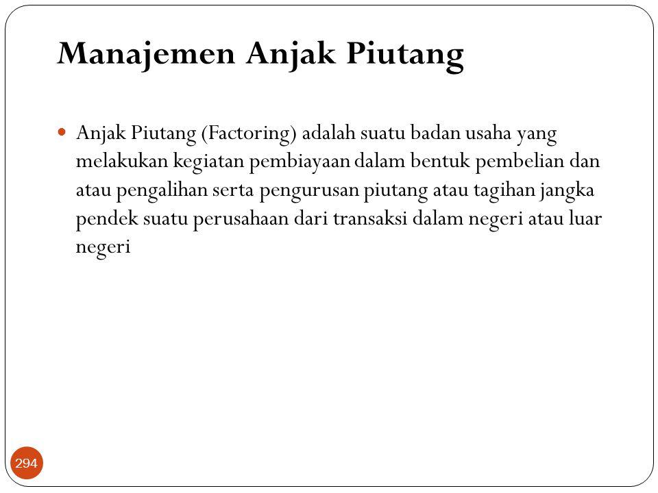 Manajemen Anjak Piutang  Anjak Piutang (Factoring) adalah suatu badan usaha yang melakukan kegiatan pembiayaan dalam bentuk pembelian dan atau pengalihan serta pengurusan piutang atau tagihan jangka pendek suatu perusahaan dari transaksi dalam negeri atau luar negeri 294