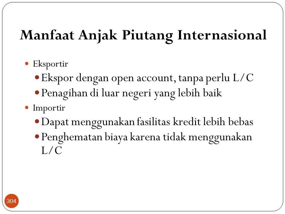 Manfaat Anjak Piutang Internasional  Eksportir  Ekspor dengan open account, tanpa perlu L/C  Penagihan di luar negeri yang lebih baik  Importir  Dapat menggunakan fasilitas kredit lebih bebas  Penghematan biaya karena tidak menggunakan L/C 304