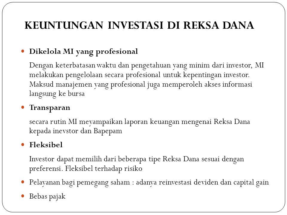 KEUNTUNGAN INVESTASI DI REKSA DANA 315  Dikelola MI yang profesional Dengan keterbatasan waktu dan pengetahuan yang minim dari investor, MI melakukan pengelolaan secara profesional untuk kepentingan investor.