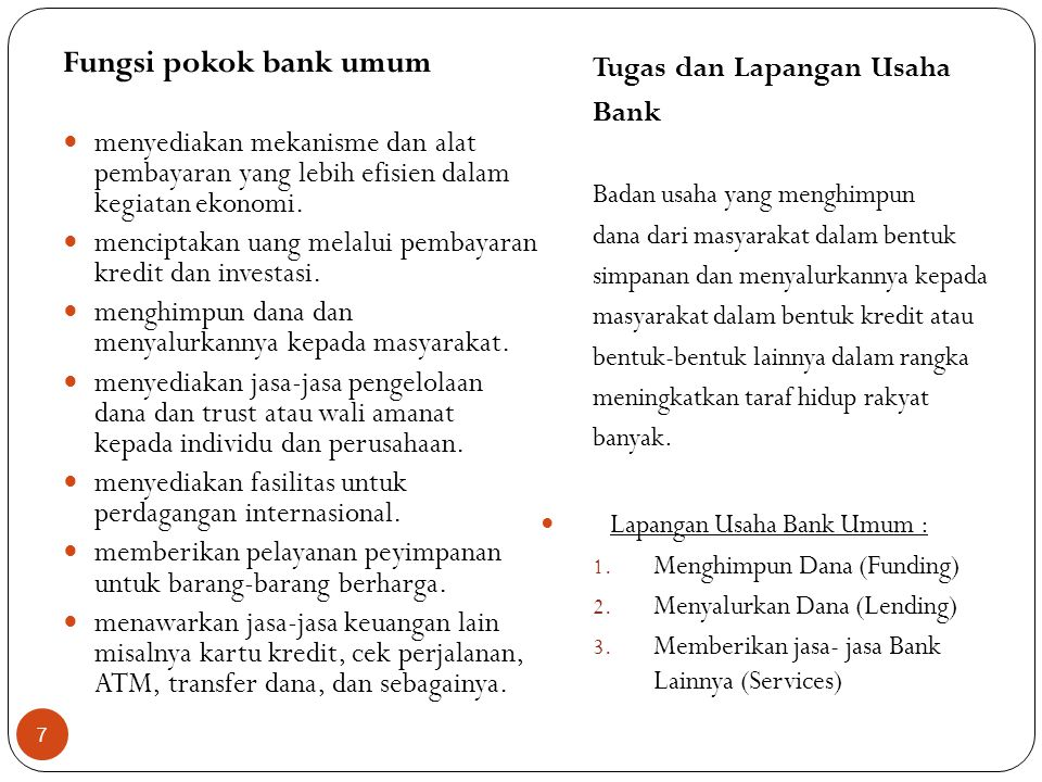 Klasifikasi Jenis Bank 1.