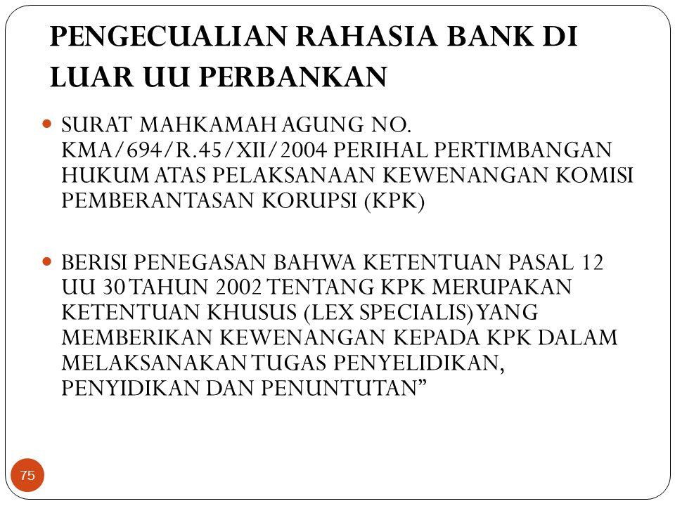PENGECUALIAN RAHASIA BANK DI LUAR UU PERBANKAN  SURAT MAHKAMAH AGUNG NO.