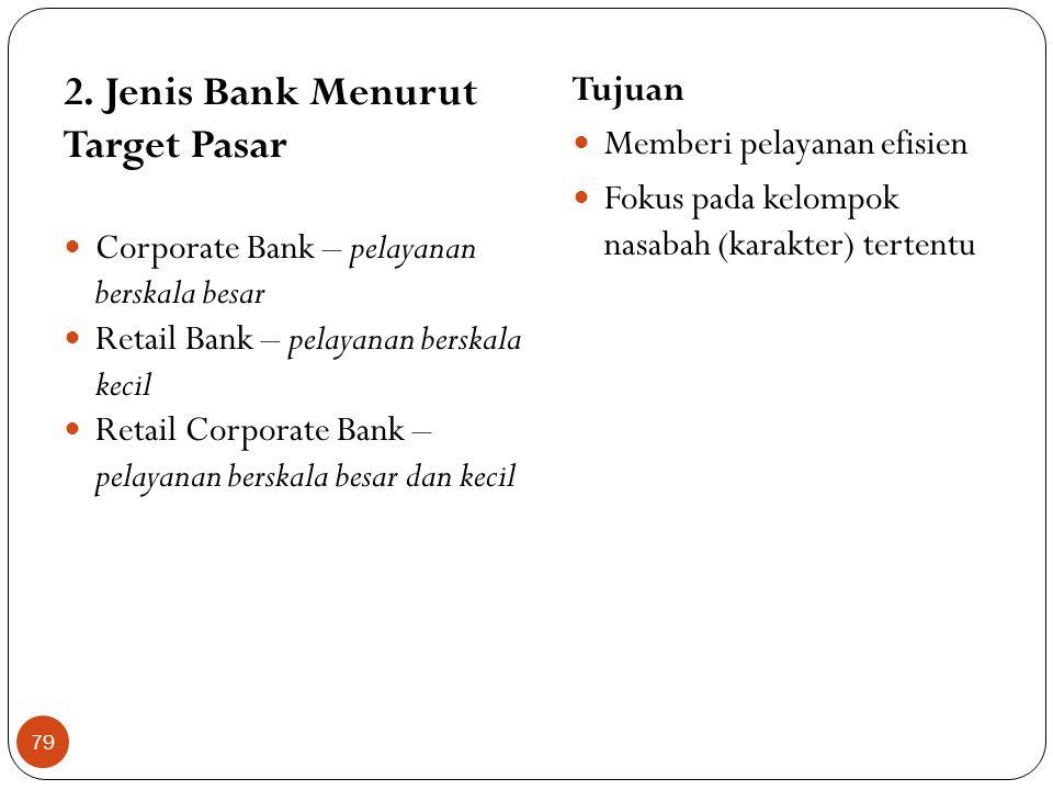2. Jenis Bank Menurut Target Pasar  Corporate Bank – pelayanan berskala besar  Retail Bank – pelayanan berskala kecil  Retail Corporate Bank – pela