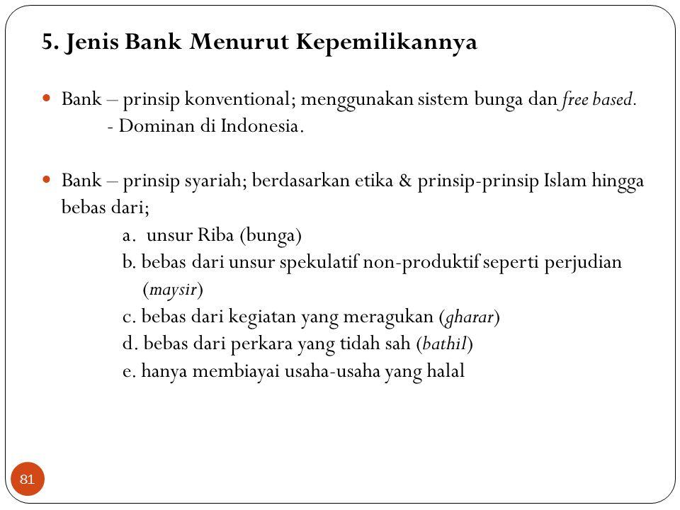 5. Jenis Bank Menurut Kepemilikannya  Bank – prinsip konventional; menggunakan sistem bunga dan free based. - Dominan di Indonesia.  Bank – prinsip
