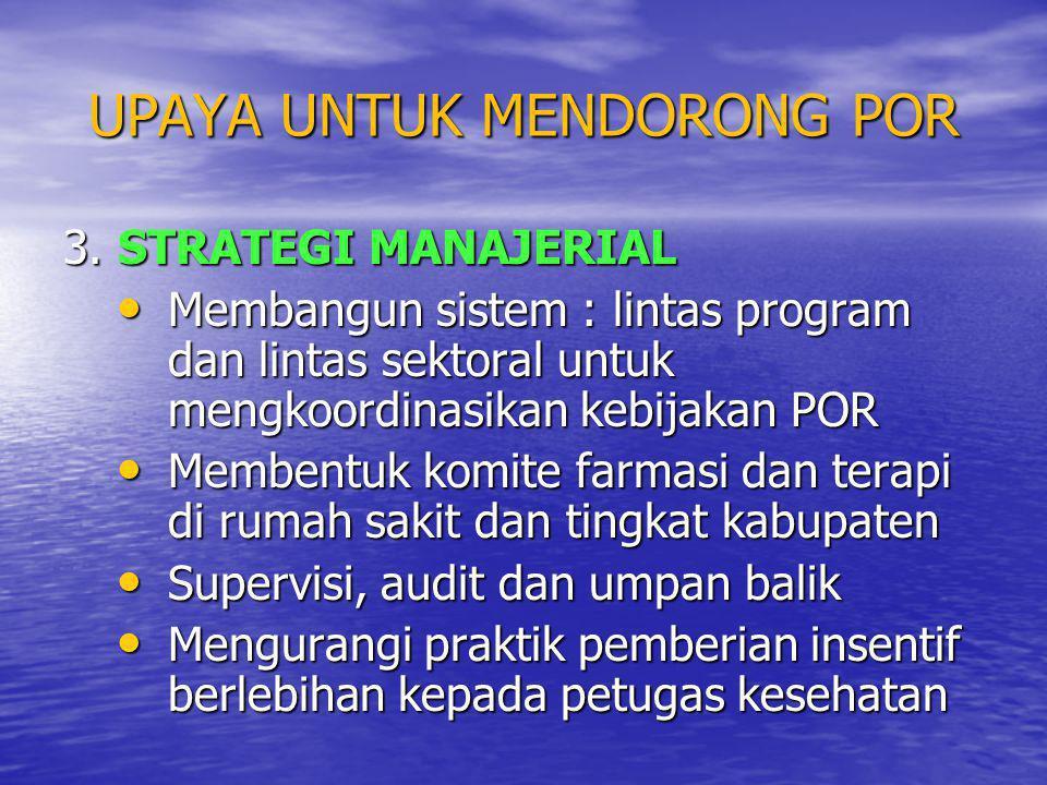 UPAYA UNTUK MENDORONG POR 3. STRATEGI MANAJERIAL • Membangun sistem : lintas program dan lintas sektoral untuk mengkoordinasikan kebijakan POR • Membe
