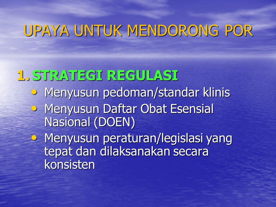 UPAYA UNTUK MENDORONG POR 1.STRATEGI REGULASI • Menyusun pedoman/standar klinis • Menyusun Daftar Obat Esensial Nasional (DOEN) • Menyusun peraturan/l