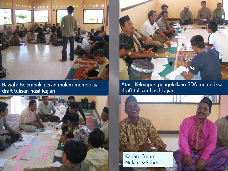 Bawah: Kelompok peran mukim memeriksa draft tulisan hasil kajian Atas: Kelompok pengelollaan SDA memeriksa draft tulisan hasil kajian Kanan: Imum Mukim K-Sabee