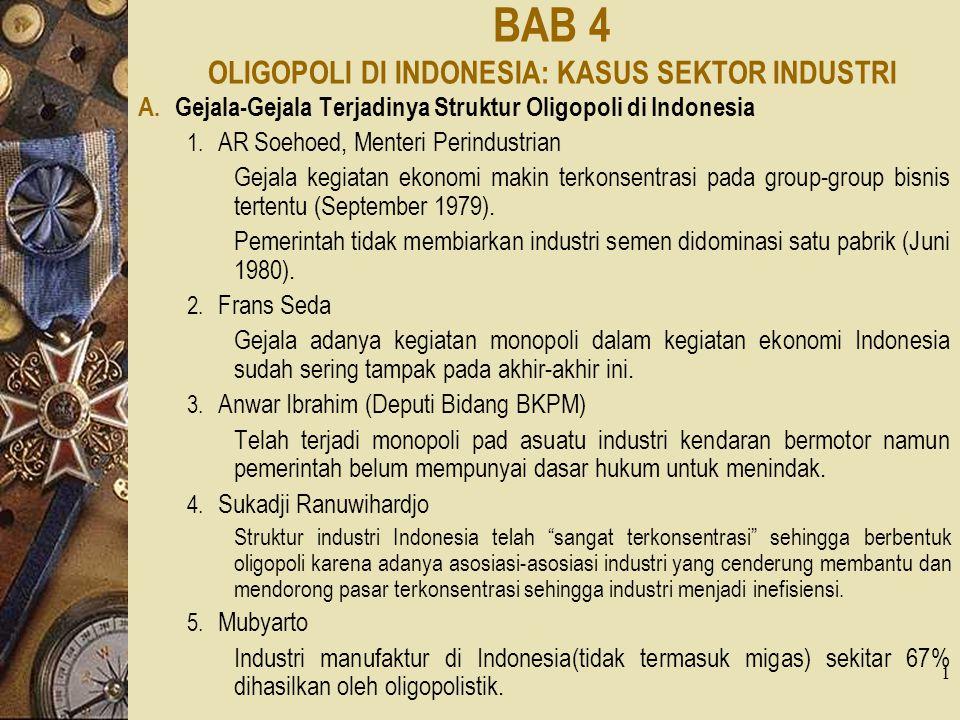 1 BAB 4 OLIGOPOLI DI INDONESIA: KASUS SEKTOR INDUSTRI A. Gejala-Gejala Terjadinya Struktur Oligopoli di Indonesia 1. AR Soehoed, Menteri Perindustrian